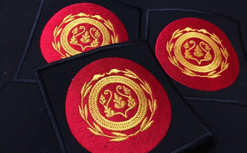 Parches bordados para la serie la embajada