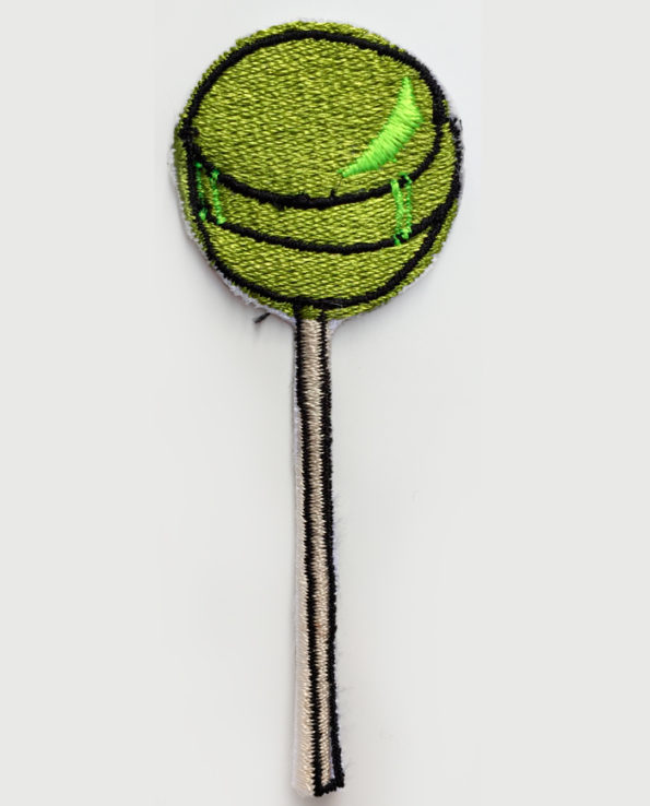 Parche bordado de chupachups color verde