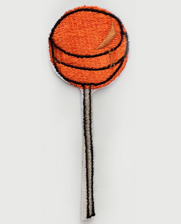 Parche bordado de chupachups color naranja