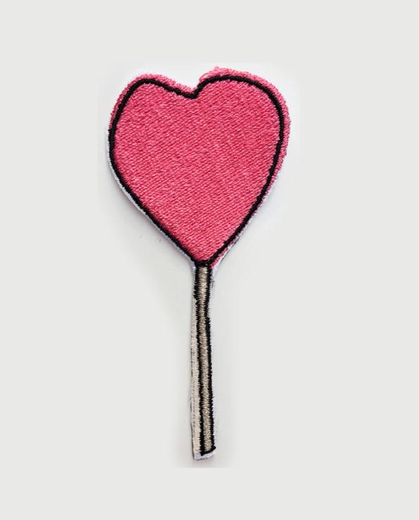 Parche bordado diseño de piruleta rosa