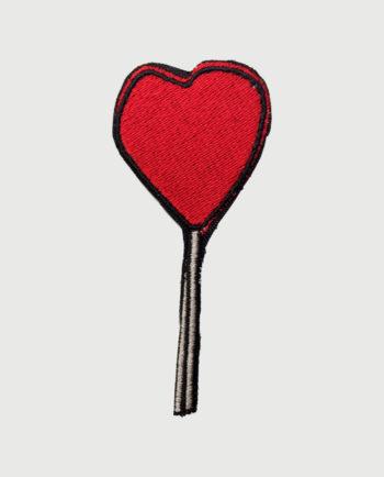 Parche bordado diseño de piruleta roja