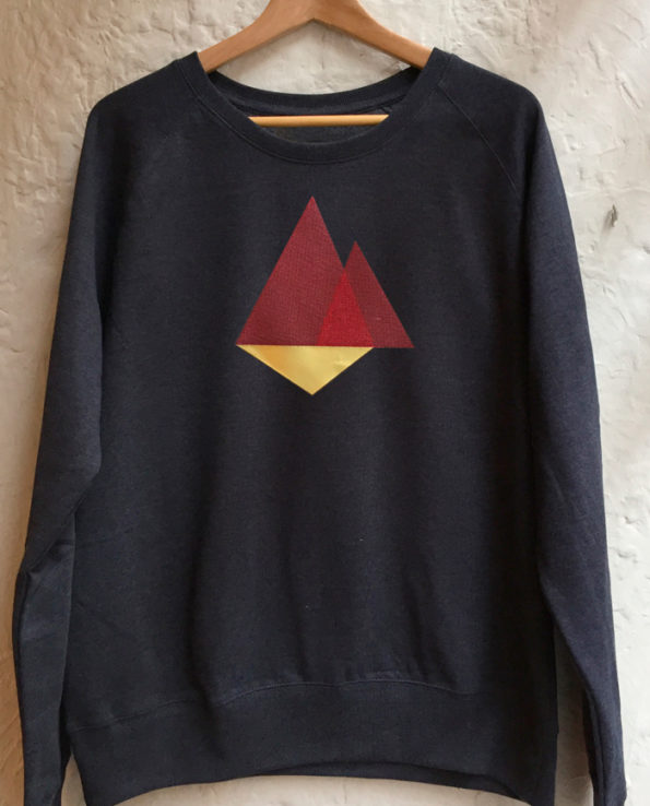 Sudadera bordada con diseño de triángulos abstractos